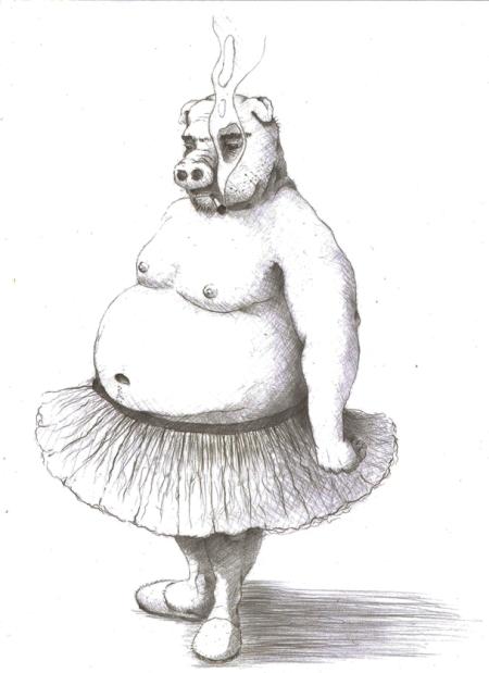 Cerdo bailarín. ilustración de Pablo Peña